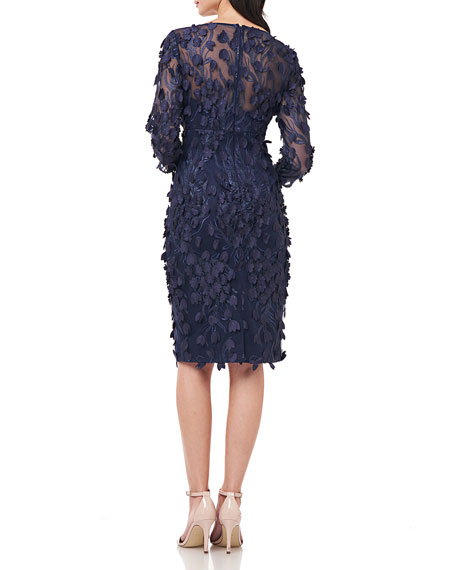 Carmen Marc Valvo Infusion 3D Petal Embellished Sheath Dress
