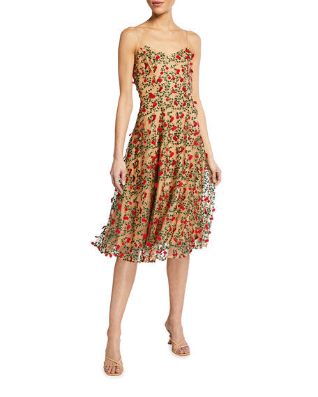 Image 1 of 2: Janice 3D Embroidered Fit-&-Flare Dress