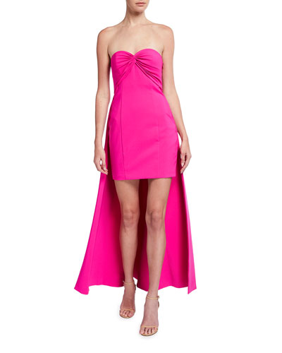 Strapless Crepe Dress with Train
