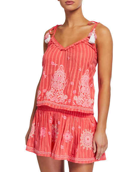 Image 1 of 2: Ramy Brook Marco Woven Spaghetti-Strap Top