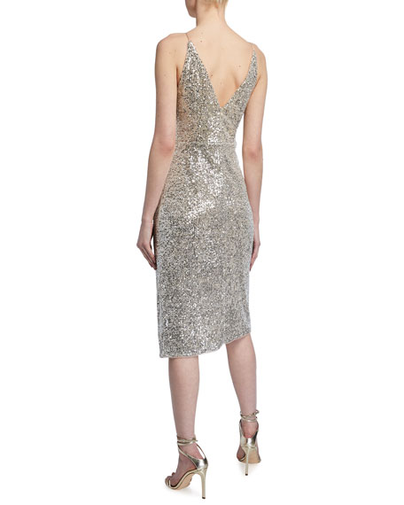Aidan by Aidan Mattox Draped Sequin Spaghetti-Strap Dress w/ Gathered Side