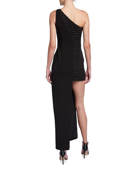 Image 2 of 2: Aidan by Aidan Mattox Asymmetrical One-Shoulder Embellished Crepe Gown