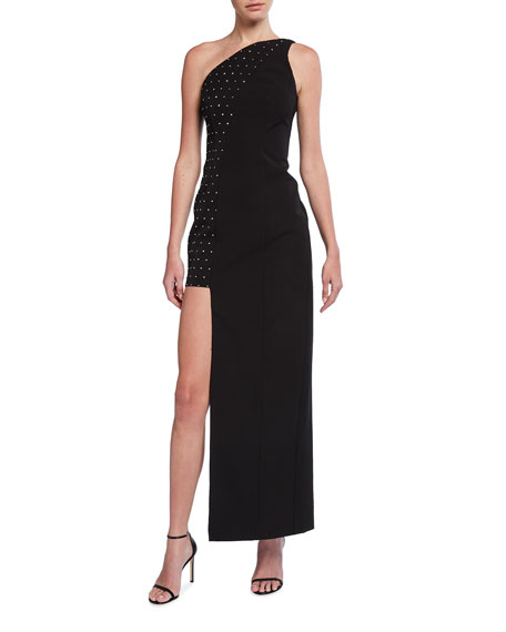 Image 1 of 2: Aidan by Aidan Mattox Asymmetrical One-Shoulder Embellished Crepe Gown