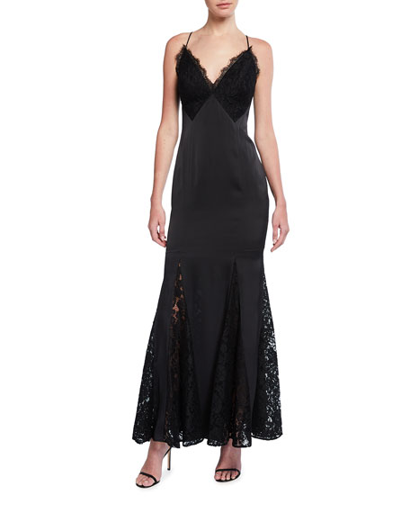 Image 1 of 2: Aidan by Aidan Mattox V-Neck Charmeuse & Lace Mermaid Dress