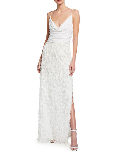 Cowl-Neck Sequined Fringe Column Gown