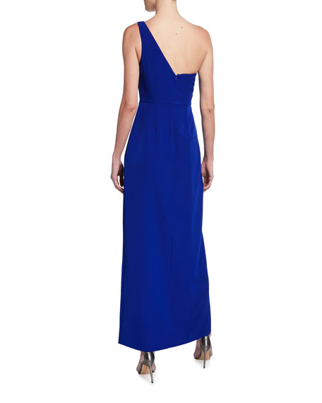 Image 2 of 2: Aidan by Aidan Mattox Asymmetrical One-Shoulder Crepe Jumpsuit w/ Overlay Skirt
