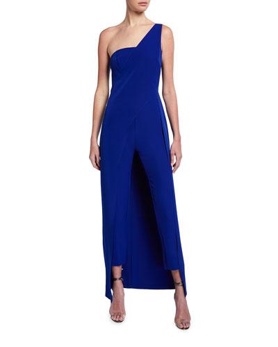 Asymmetrical One-Shoulder Crepe Jumpsuit w/ Overlay Skirt