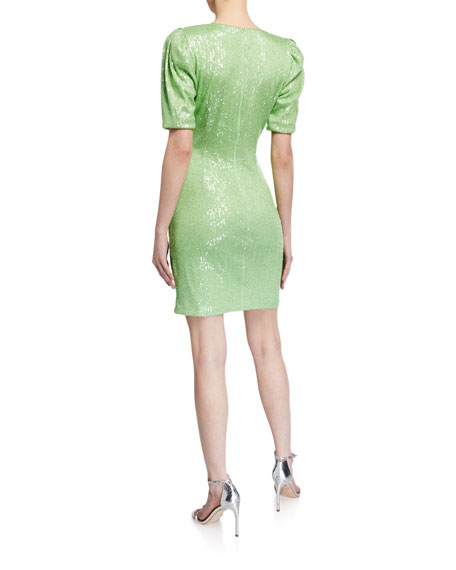 Image 2 of 2: One33 Social Sequin Elbow-Sleeve Ruched Mini Surplice Dress