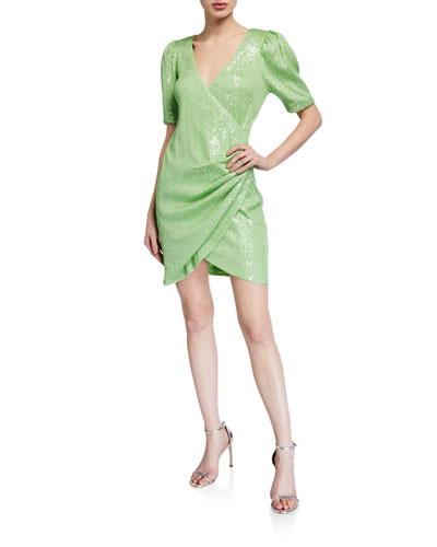 Sequin Elbow-Sleeve Ruched Mini Surplice Dress