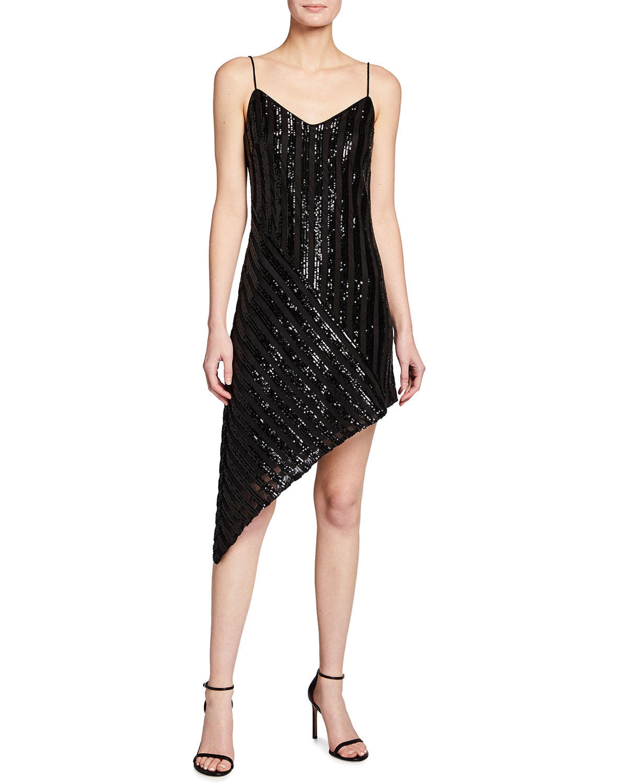 One33 Social Sequin Stripe Asymmetric Slip Dress