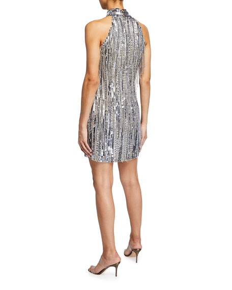 Image 2 of 3: One33 Social Beaded Fringe Halter-Neck Flapper Dress