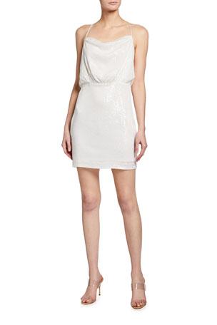 One33 Social Sequin Blouson Mini Halter Dress
