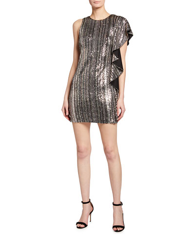 Sequined Vertical Stripe Asymmetric Ruffle Dress