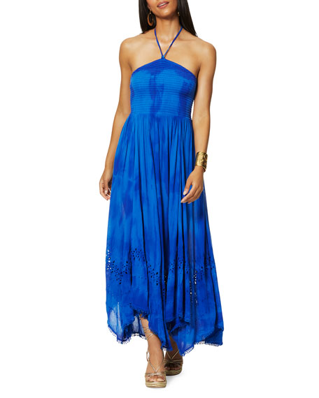 Ramy Brook Martina Tie-Dye Halter Coverup Dress