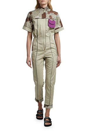 Palm Angels Camo-Print Short-Sleeve Jumpsuit