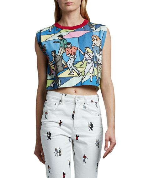 Kirin Dancer-Print Knit Crop Top
