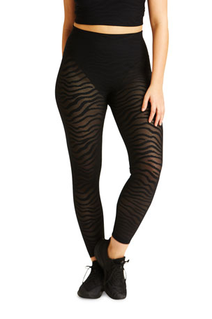 Adam Selman Sport Animal Stripe French-Cut Mesh Leggings