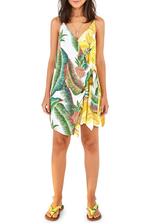 Farm Rio Azalea Forest Mini Wrap Dress