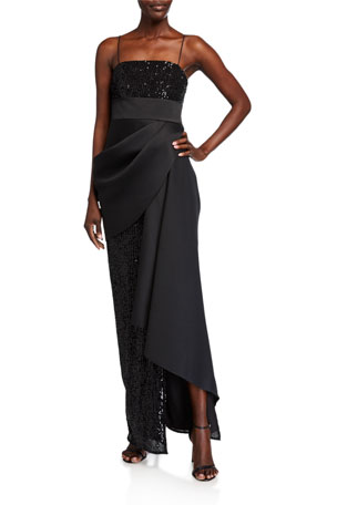Jay Godfrey Amira Sequined Mesh Gown with Draped Front