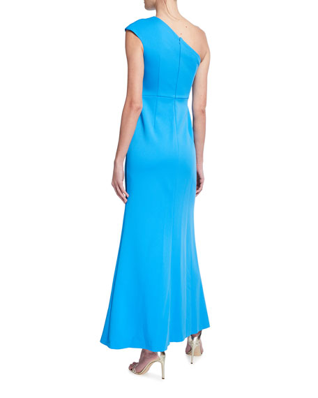 Image 2 of 2: Aidan Mattox One-Shoulder Crepe Gown with Front Slit