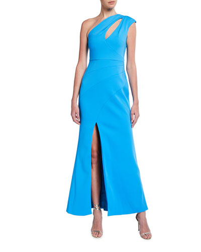 One-Shoulder Crepe Gown with Front Slit