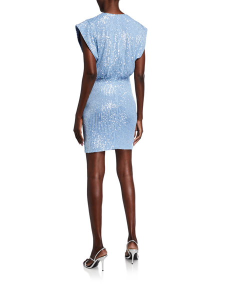 Jay Godfrey Evie Crystal Mesh Sequin Cap-Sleeve Gathered-Hem Mini Dress