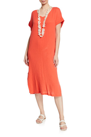 Eileen Fisher Petite V-Neck Short-Sleeve Lofty Organic Cotton Midi Dress