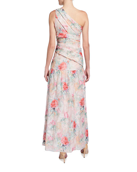 Image 2 of 2: Aidan Mattox One-Shoulder Rose Jacquard Front Slit Gown
