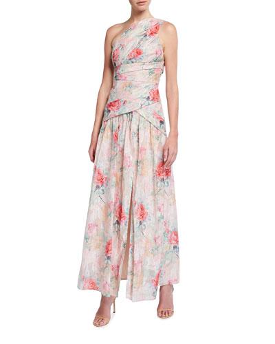 One-Shoulder Rose Jacquard Front Slit Gown