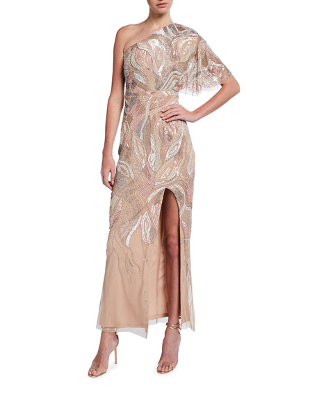 Aidan Mattox Asymmetrical Mosaic Beaded One-Sleeve Column Gown