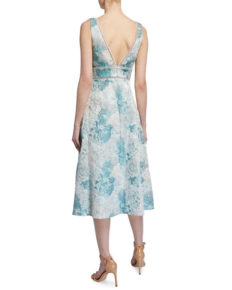 Image 2 of 2: Aidan Mattox Sleeveless Floral Jacquard Fit-&-Flare Dress