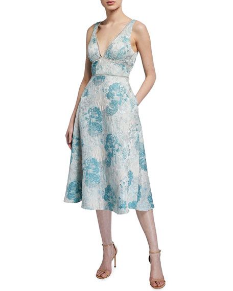 Image 1 of 2: Aidan Mattox Sleeveless Floral Jacquard Fit-&-Flare Dress