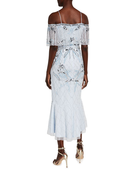 Image 2 of 2: Aidan Mattox Fully Beaded High-Low Midi Halter Dress w/ Capelet