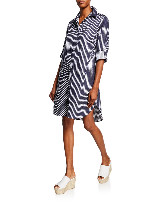 Finley Plus Size Bailey Mitered Stripe Button-Down Shirtdress