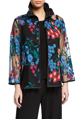 Petite Fresh Flower Embroidery Jacket