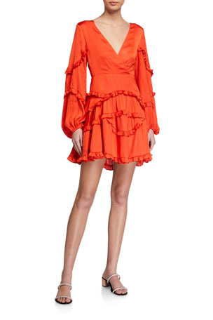 Bardot Nala Frilly Deep-V Dress