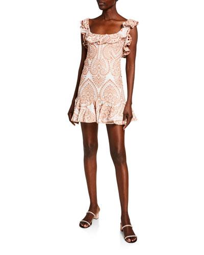 Eliza Flutter Embroidered-Cotton Mini Dress