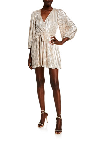 Bardot Bellissa Pleat Balloon-Sleeve Wrap Dress