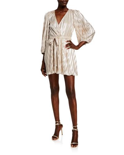 Bellissa Pleat Balloon-Sleeve Wrap Dress