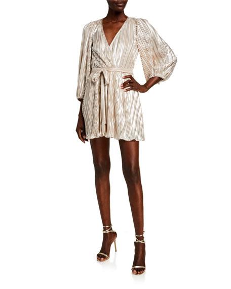 Bardot Bellissa Pleat Balloon-Sleeve Wrap Dress