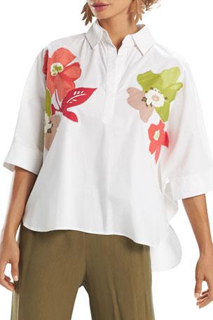 Natori Floral Embellished Cotton Poplin Top