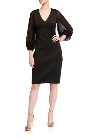 Badgley Mischka Collection V-Neck Puff-Sleeve Scuba Dress