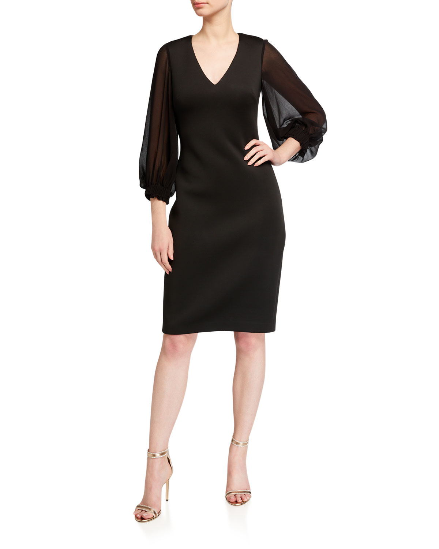 Badgley Mischka Collection V-Neck Puff-Sleeve Scuba Dress