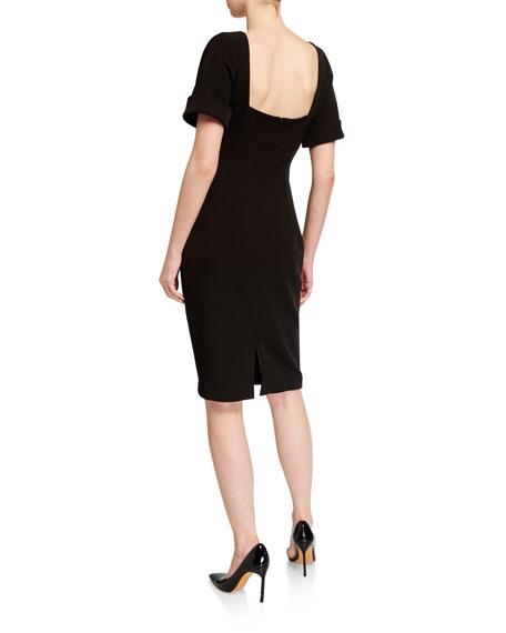 Badgley Mischka Collection High-Neck Crepe Dolman Dress