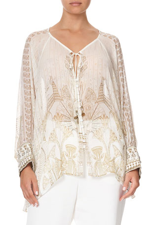 Camilla The Queens Chamber Button Up Print Top