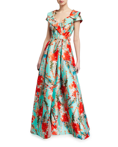 Floral Print Cap-Sleeve Belted Shirt Dress Gown