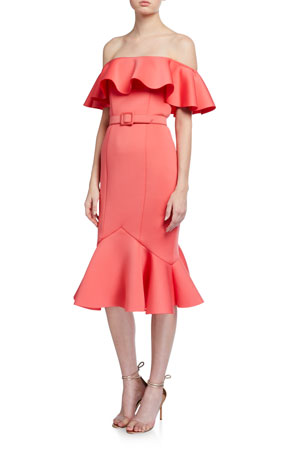 Badgley Mischka Collection Off-the-Shoulder Scuba Ruffle Dress