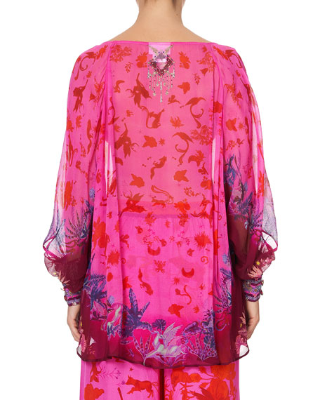 Image 2 of 5: Camilla Raglan-Sleeve Button-Up Print Top