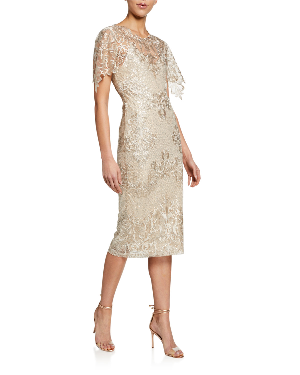 Badgley Mischka Collection Embroidered Lace Sheath Dress