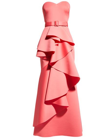 Badgley Mischka Collection Strapless Ruffle Gown